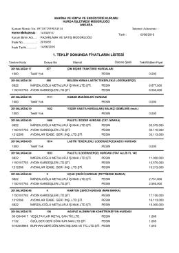 14.06.2016 ihale teklif listesi - Makina ve Kimya Endüstrisi Kurumu