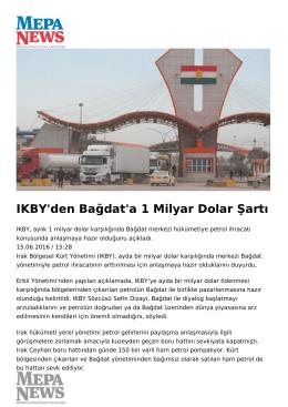 IKBY`den Bağdat`a 1 Milyar Dolar Şartı