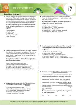 Servetifünun Edebiyatı - 1 - Ölçme, Değerlendirme ve Sınav