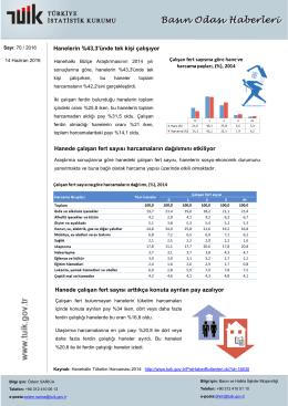 Hanelerin %43,3`ünde tek kişi çalışıyor Hanede çalışan fert sayısı