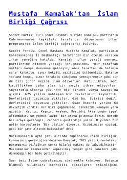Mustafa Kamalak`tan İslam Birliği Çağrısı
