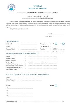 yandal başvuru formu - Bursa Teknik Üniversitesi