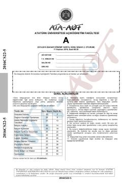2016CS22-5 2016CS22-5 - Atatürk Üniversitesi Açıköğretim Fakültesi