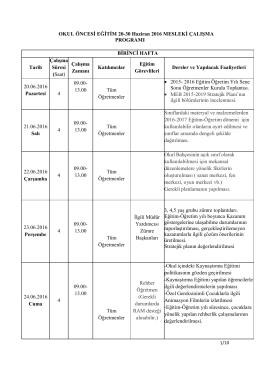 OKUL ÖNCESİ EĞİTİM 20-30 Haziran 2016 MESLEKİ ÇALIŞMA