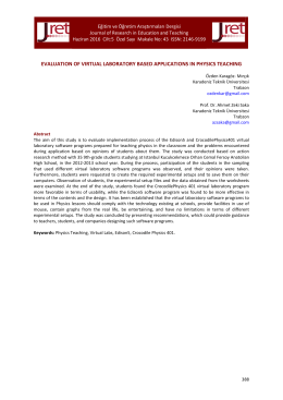 evaluation of virtual laboratory based applications in physics teaching