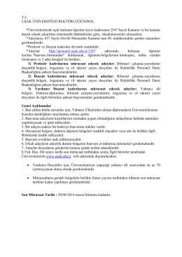 Uşak Üniversitesi Öğretim Üyesi Alım İlanı (15