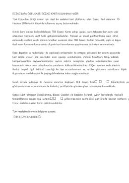 ECZACILARA ÖZEL KART: ECZACI KART KULLANIMA HAZIR Türk