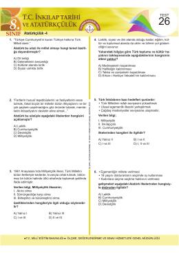 Atatürkçülük -4 - Ölçme, Değerlendirme ve Sınav Hizmetleri Genel
