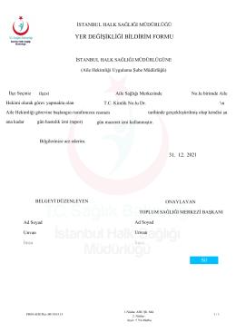 yer değişikliği bildirim formu - İstanbul Halk Sağlığı Müdürlüğü