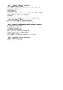 Tablo-1`e aşağıdaki programlar eklenmiştir. YENİ YÜZYIL