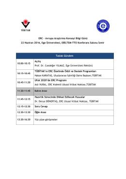 ERC – Avrupa Araştırma Konseyi Bilgi Günü 22 Haziran 2016, Ege