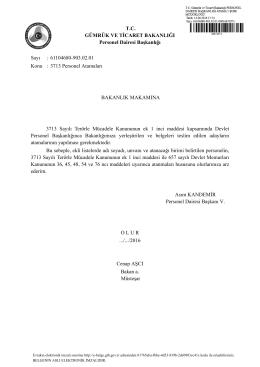 3713 Personel Atamaları - Gümrük ve Ticaret Bakanlığı Personel