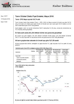 Tarım Ürünleri Üretici Fiyat Endeksi-(Mayıs 2016