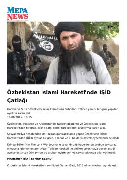 Özbekistan İslami Hareketi`nde IŞİD Çatlağı