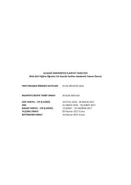 İlahiyat Fakültesi Hazırlık Sınıfı Akademik Takvimi