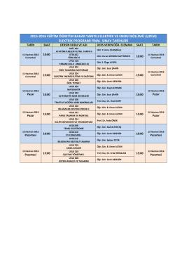 Uzem Elektrik Önlisans Programı Final ve Bütünleme Takvimi