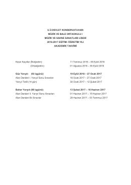 Devlet Konservatuvarı İlköğretim ve Lise Devresi Akademik Takvimi