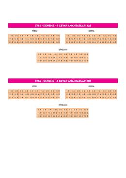(A) LYS2 • DENEME - 4 Cevap Anahtarları (B)