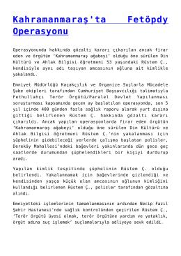 Kahramanmaraş`ta Fetöpdy Operasyonu