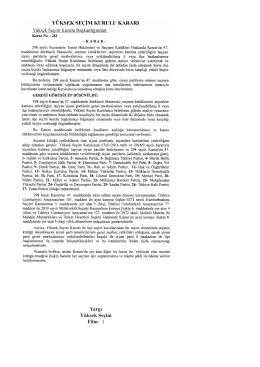 Yüksek Seçim Kurulunun 08/06/2016 Tarihli ve 261