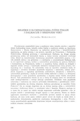 beleške o iluminacijama južne italije i dalmacije u sred n jem veku