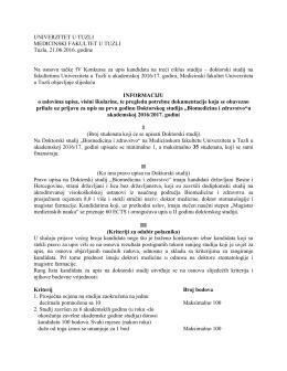 INFORMACIJA o uslovima upisa, visini školarine