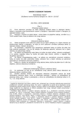 Zakon o sudskim taksama Kantona Sarajevo