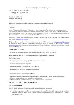 Konkurentski zahtjev za dostavu ponuda za – Kancelarijski materijal