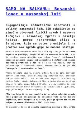 SAMO NA BALKANU: Bosanski lonac u masonskoj loži