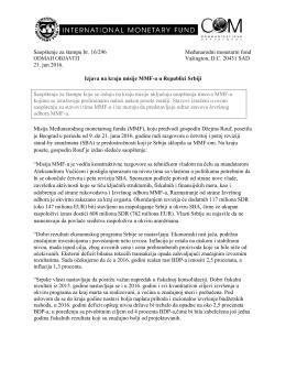Izjava na kraju misije MMF-a u Republici Srbiji