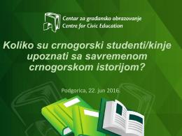 Koliko su crnogorski studenti/kinje upoznati sa savremenom