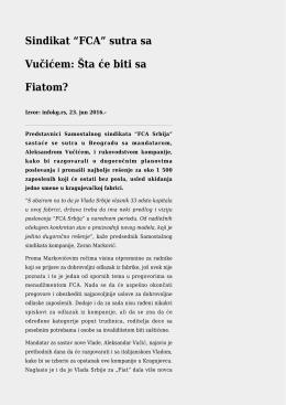 "Sindikat ""FCA"" sutra sa Vučićem: Šta će biti sa Fiatom?"