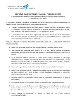 uputstvo kandidatima za polaganje prijemnog ispita