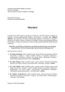 Obavijest - Univerzitet u Sarajevu