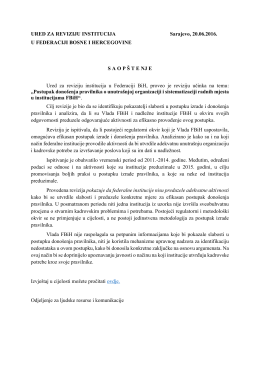 20.6.2016 Saopštenje za WEB, RU Postupak donošenja pravilnika