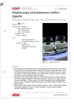 Hladna supa od krastavaca i kefira / jogurta