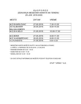 raspored izdavanja mesečnih karata na terenu za jun