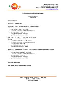 Agenda - Univerzitet Donja Gorica