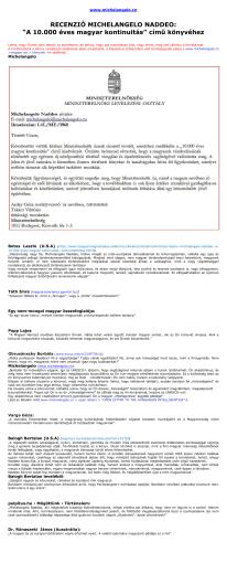 michelangelo naddeo - a 10.000 éves magyar kontinuitás