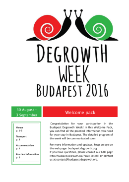 Welcome pack - 5th International Degrowth Conference