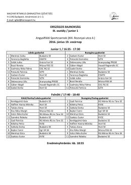 ORSZÁGOS BAJNOKSÁG III. osztály / junior 1
