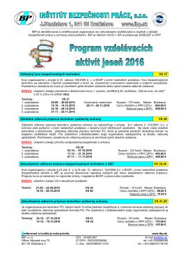 Ponuka vzdelavacích aktivít JESEŇ 2016