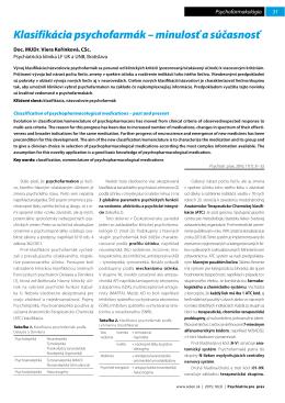 Klasifikácia psychofarmák – minulosť a súčasnosť