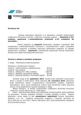 Ponukový list Process Automation Solutions s.r.o. Bratislava a