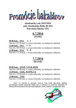 TermĂny bakalárskych promĂłciĂ