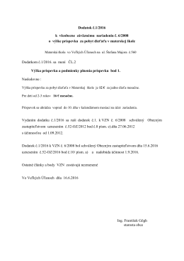 Dodatok č. 1/2016 k VZN č. 6/2008