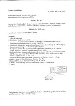 na rokovanie Obecného zastupiteľstva obce Olešná