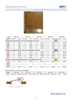 Cenník okkopových plechov na dvere.