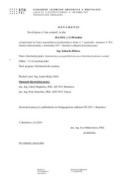 Ing. Eduard Ribar - oznámenie - Fakulta elektrotechniky a
