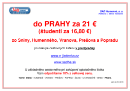 Praha oznam - SAD Humenné as